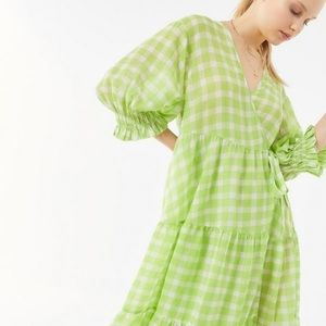 Urban Outfitters UO Crinkle Green Plaid Wrap Dress
